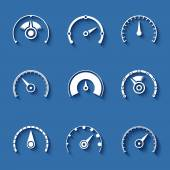 Speedometer flat vector icons set on blue background