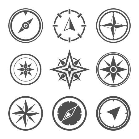 Wind rose compass symbols