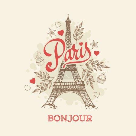 Illustration for Vector illustration of hand drawn Parisian symbol Eiffel tower - Royalty Free Image