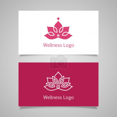 Illustration for Vector floral Wellness label of Lotus symbol icon business card - Royalty Free Image