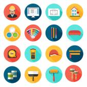Architecture Interior design and repairs vector icons set