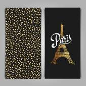 Eiffel tower parisian symbol Hand drawn vector greeting art deco styled card
