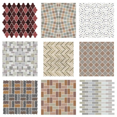 Illustration for Architectural and landscape rocks and bricks patterns set. - Royalty Free Image