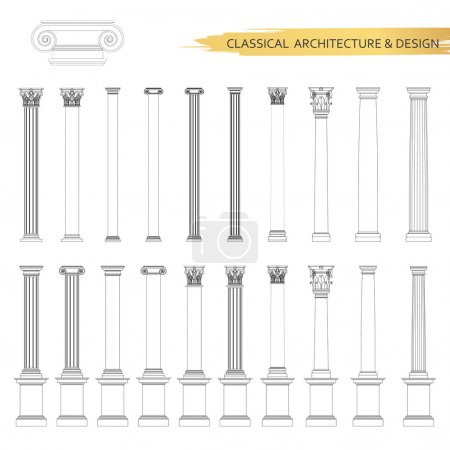 Classical architectural columns drawings
