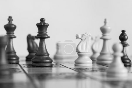 Chess photographed on a chessboard.