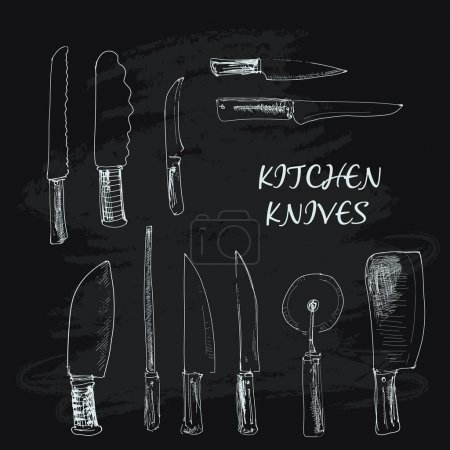Illustration pour Collection de couteaux de cuisine. Illustrations dessinées main - image libre de droit