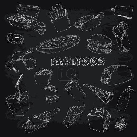 Fastfood collectionon chalkboard
