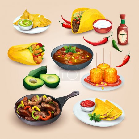 Illustration for Mexican food. Colorful food illustrations in one set - Royalty Free Image