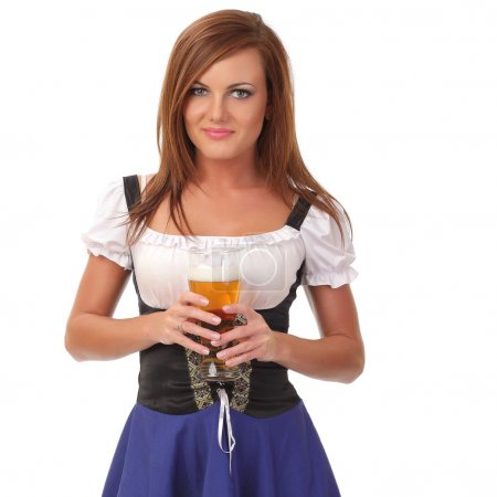 Young woman holding a beer