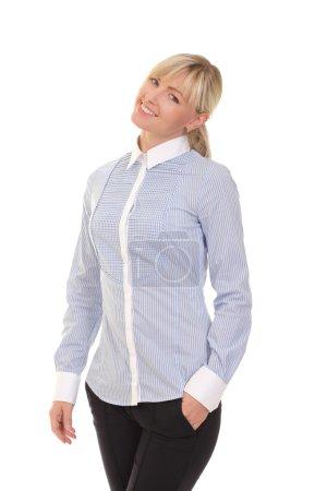 Photo pour Femme positive sur fond blanc - image libre de droit