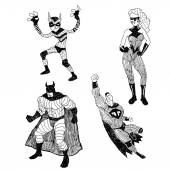 Superheros vector drawings set