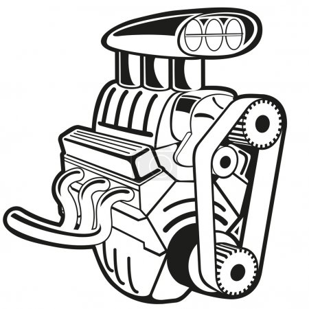 Illustration for Vector illustration of the engine. Clip art - Royalty Free Image