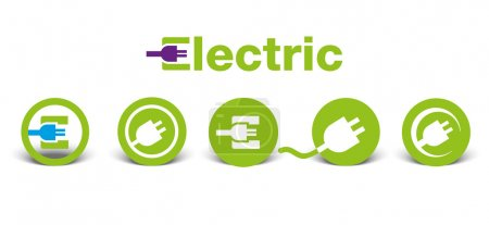 Illustration for Set of electric green icons with shadow, isolated on white, illustration - Royalty Free Image