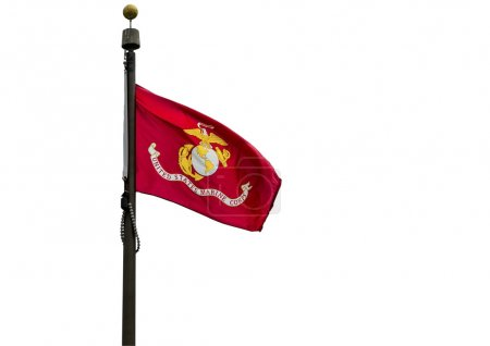 Photo pour Drapeau U.S. Marine Corps sur fond blanc . - image libre de droit