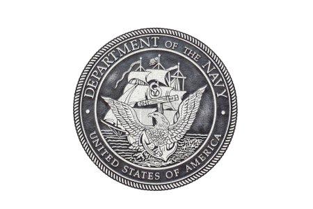 Photo pour Sceau officiel de la marine américaine sur fond blanc. - image libre de droit
