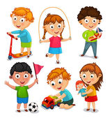 Kids are playing with toys Vector illustration