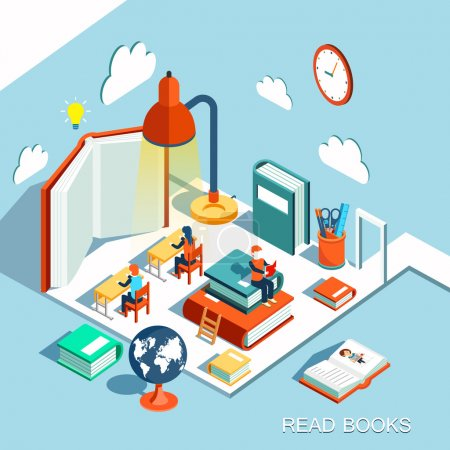 Illustration for The concept of learning, read books in the library, isometric flat design vector - Royalty Free Image