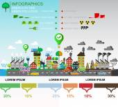 Infographic elements of  environmental pollution of the city Comparison of Green and polluted city For diagram web design  brochure  template  layout banner Vector