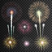 Satz von isolierten realistische Vektor-Feuerwerk