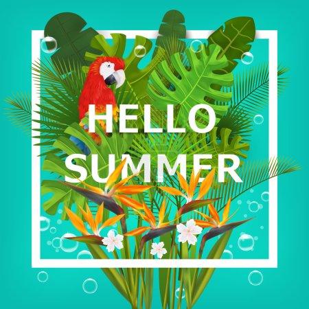 Illustration pour Bonjour fond d'été avec des plantes tropicales et des fleurs. Pour typographie, bannière, affiche, invitation de fête. Illustration vectorielle - image libre de droit