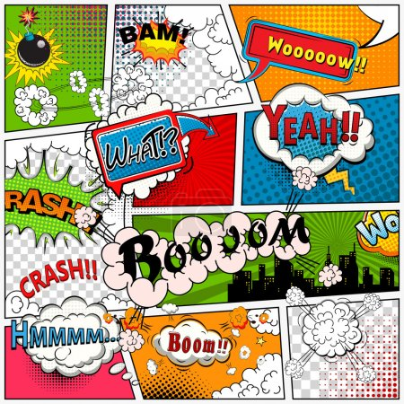 Comic book page divided by lines with speech bubbles, sounds effect. Retro background mock-up. Comics template. Vector illustration