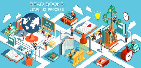 Illustration pour Le processus d'éducation, le concept d'apprentissage et de lecture des livres à la bibliothèque et en classe. Formation en ligne Isometric flat design. Illustration vectorielle - image libre de droit