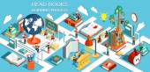 The process of education the concept of learning and reading books in the library and in the classroom Online education Isometric flat design Vector illustration