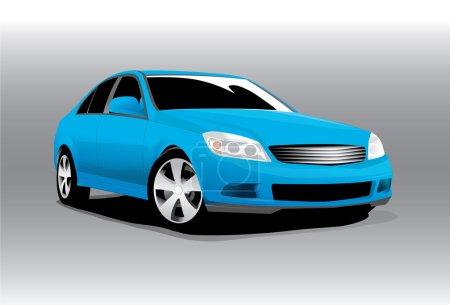 Illustration pour Vecteur sport bleu voiture vue de face - image libre de droit