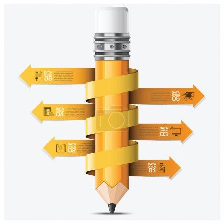 Ilustración de Educación y aprendizaje con la plantilla de diseño vectorial infográfico de paso de lápiz de flecha espiral - Imagen libre de derechos