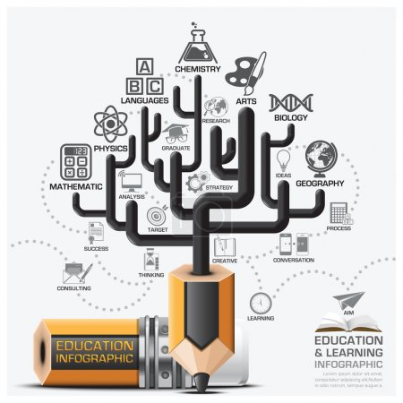 Illustration for Education And Learning Step Infographic With Tree Pencil Lead Subject Diagram Vector Design Template - Royalty Free Image