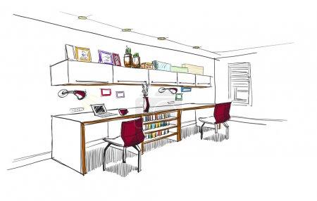 Illustration for Home office interior sketch. - Royalty Free Image