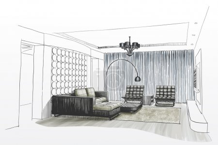 Illustration for Living room interior sketch. - Royalty Free Image