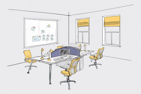 Illustration for Illustration of open space office. Interior design. - Royalty Free Image