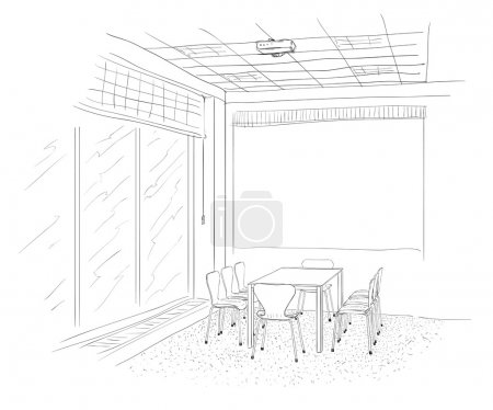 Illustration for Conference room interior with a screen. - Royalty Free Image