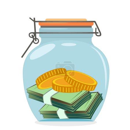 Illustration pour Concept vectoriel de pot en verre avec de l'argent - image libre de droit