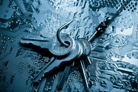 Hook with keys on computer circuit board