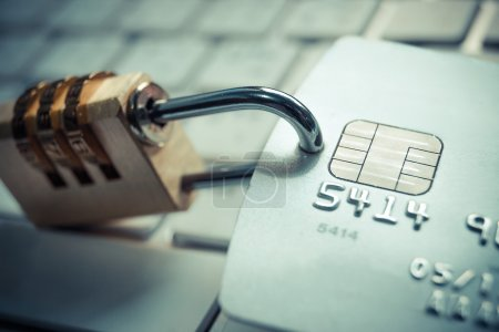 Credit card with security lock - data theft protec...