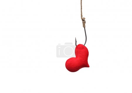 red heart with a fish hook