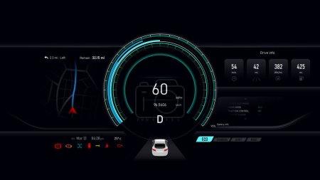 Illustration pour Tableau de bord de voiture compteur de vitesse de véhicule électrique, concept automobile futuriste, illustration vectorielle eps 10 - image libre de droit