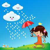 Little girl in rainny day 001