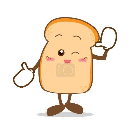 Bread-07 Isolated happy smile Slice of bread cartoon