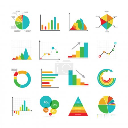 Set of business marketing dot bar pie charts diagrams and graphs