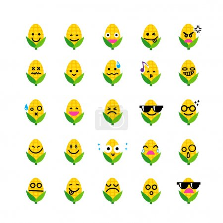 Collection of difference emoticon icon of corn on the white back