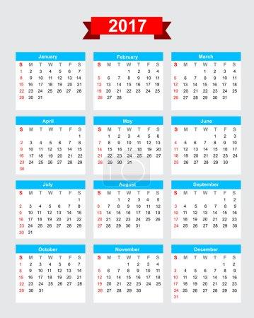 2017 calendar week start sunday