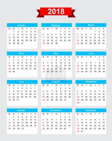 2018 calendar week start sunday