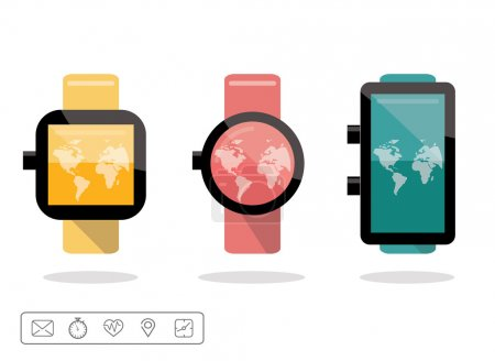 Smart watch or wearable on hand device set with feature icons set.