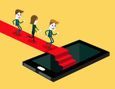 Group of people running on red carpet to inside smartphone