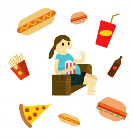 Sedentary woman eating fast food on the couch.