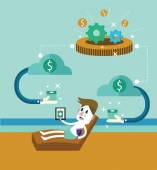 Passive income Businessman at the beach receive money from cloud