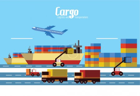 Cargo, Logistics and transportation. flat design elements. vecto